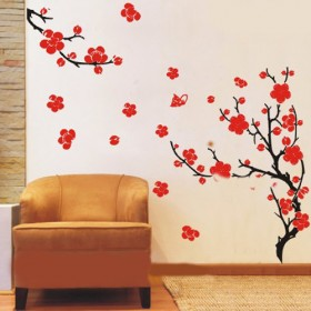 Red Blossom Flowers Wall Decals